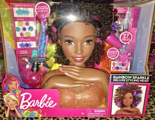 Buy Barbie African American Rainbow Sparkle Deluxe Styling Head Online In Lebanon 124173908953