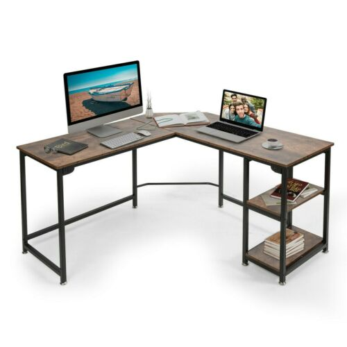 Buy L Shaped Computer Desk Corner Desk Gaming Table Writing Workstation With Shelves Online In Lebanon 174295574558