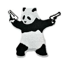 16158 Panda Bear With Guns In Hand Shoot Animal Humor Funny Silly Iron On Patch