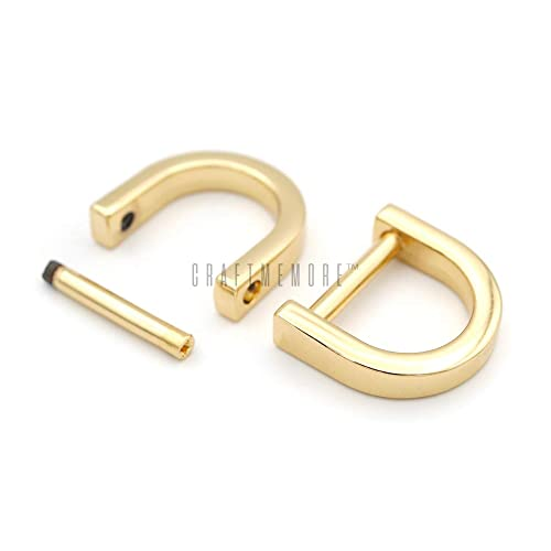 Silver Black and Gold U Shape D Rings Screw in Shackle Semicircle D Ring Luckycivia 12 Pcs D-Rings Horseshoe Shape D Ring with Small Screwdriver for DIY Leather Craft Accessories