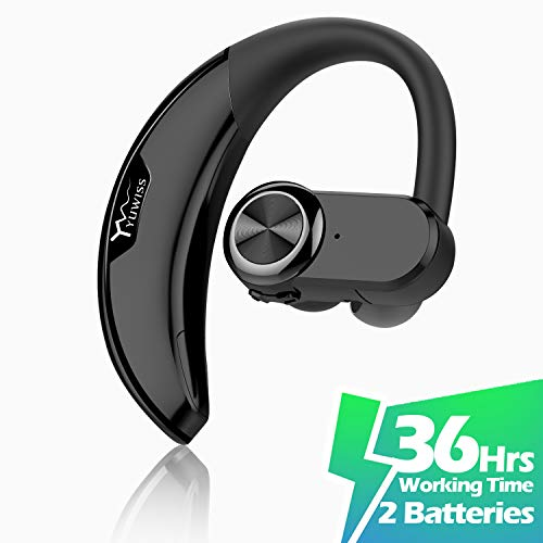 Yuwiss Bluetooth Headset 36hrs Playtime 2 Batteries V4 2 Wireless Bluetooth Earpiece For Cell Phone Noise Canceling Car Earbuds Headphones With Mic Compatible With Iphone Samsung Android Black Buy Products Online With