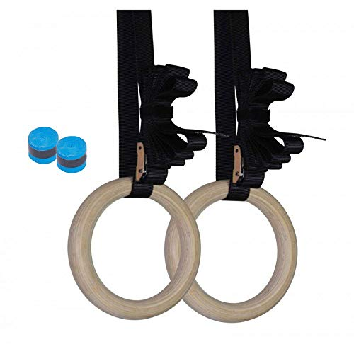 Full Body Suspension Trainer Bodyweight Calisthenics Fitness Gifts Home Gym Equipment New Premium Birch Wooden Gymnastics Rings 1.1 Olympic Standard Numbered Adjustable Straps and Cam Buckle