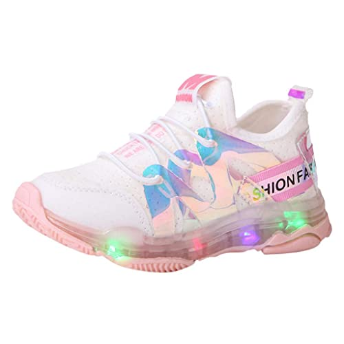 4.5-5 Years Old, Pink Girls Boys Child Tennis Shoes Fashion Sneakers Mesh Mix Color Casual Sports Walking Shoes for 3-8 Years Old