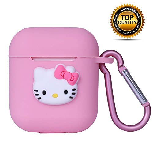 Airpods 1 2 Case Cover Cute Pink Kitty Design With Keychain