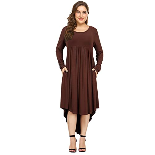 AMZ PLUS Womens Plus Size Short Sleeve Loose High Low Casual Midi Floral Dresses with Pockets
