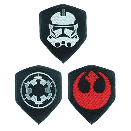 Antrix 3 Pcs Movie Galactic Empire Target Blackhole Stormtrooper Helmet Shield Patch Hook and Looped Embroidered Applique Patches for Jackets Jeans Jersey Pants