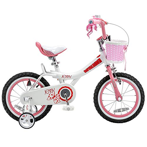 RoyalBaby Girls Kids Bike Jenny Bunny 12 14 16 18 20 Inch Bicycle for 2-12 Years Old Childs Cycle with Basket Training Wheels or Kickstand Girls Bike White Pink Fuchsia