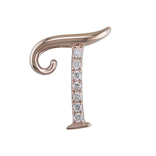 JMS Jewelry 18K Rose Gold Initial P Pave with Diamond Pendant 80