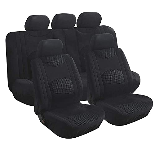 D-Lumina 2Pcs Breathable Leather Car Front Seat Cushion Cover Pad Mat Universal for Auto Interior Supplies Seat Bottom Protector 21.5 /× 24.06 Inch Black