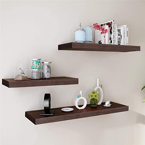 Buy W Cabin Pack Of 3 Floating Shelves Wall Storage Shelves Wall Mounted Display Shelf Rustic Wooden Shelves For Wall Easy To Hang Up Dark Brown Online In Lebanon B07rpr65tr