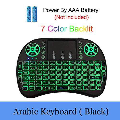 Color: Spanish Backlit Calvas Backlight Mini i8 Keyboard English Russian Spanish Air Mouse 2.4GHz Wireless Keyboard Touch Handheld Remote Control for TV Box