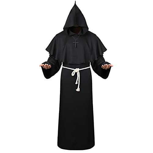 Black Hooded Cloak For Men Wizard Robe Medieval Costume Priest Sorcerer Monk Cape Buy Products Online With Ubuy Lebanon In Affordable Prices B07v688yhx