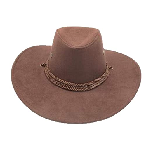 ASO-SLING Faux Felt Wide Brim Cowboy Hat Wool Fedora Outback Cattleman Hat with Leather Belt