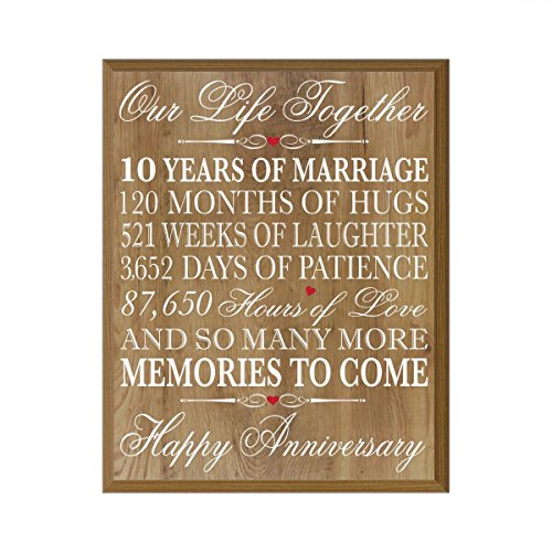 10th Wedding Anniversary Wall Plaque Gifts For Couple 10th Anniversary Gifts For Her 10th Wedding Anniversary Gifts For Him 12 Inches Wide X 15 Inches Plaque By Lifesong Milestones Pine Buy Products