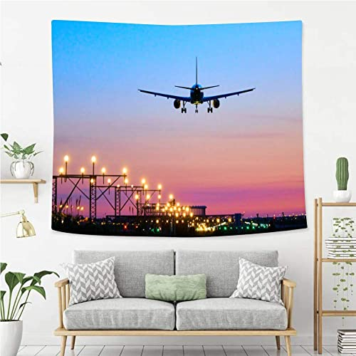 Beivivi Wall Tapestry Wall Hanging Landing Airplane During Sunset Barcelona El Prat Aeroport Wall Art Decoration For Bedroom Living Room Dorm Window Curtain Picnic Mat Buy Products Online With Ubuy Lebanon