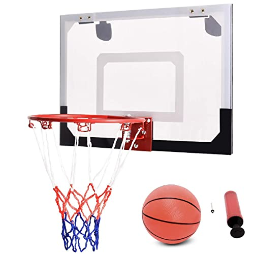 Urnanal Basketball Rim Replacement Hanging Wall Mounted Basketball Goal Hoop Rim with Net Screw for Outdoors and Indoor 32 cm// 12.6 inch