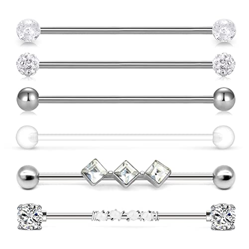 Incaton 14g Industrial Barbell Surgical Steel Cartilage Earrings Cz Industrial Earring Crystal Ferido Industrail Piercing 1 12 38mm Bar Length Buy Products Online With Ubuy Lebanon In Affordable Prices B07sg3l1k9