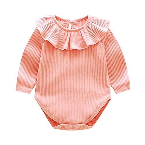 Hunauoo Floral Ruffle Romper for Infant Baby Girls Boy Long Sleeve O Neck Jumpsuit Clothes