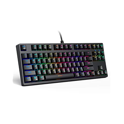 Customizable LED Backlit Ideal for Gamer,Black Blue Switch Mechanical Keyboard Wired with 104 Keys Full Anti-Ghosting WANGJIANGLI Mechanical Gaming Keyboard