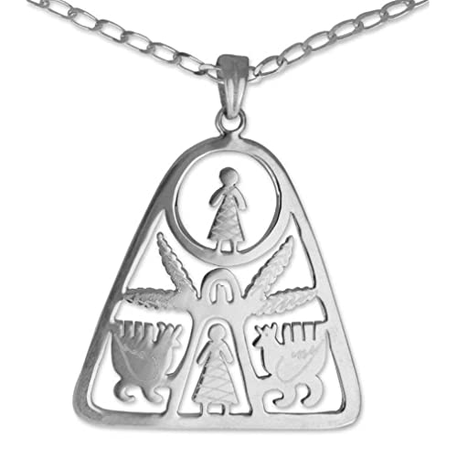 NOVICA .925 Sterling Silver Pendant Necklace 17.75 Good Dream