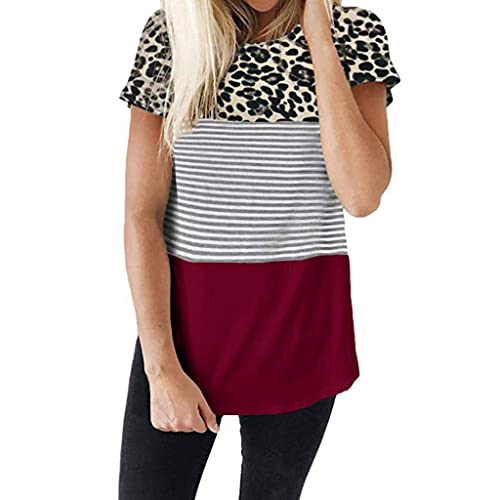 Moilant T Shirt for Womens Leopard Striped Top Short Sleeve Tunics Shirts Loose Blouses