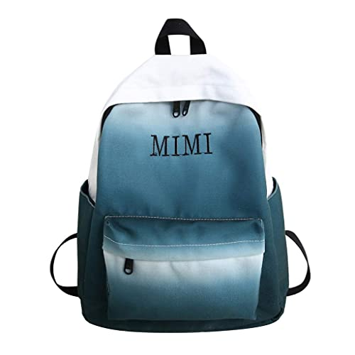 MUMUWU Ladies Backpack Leather Soft Face Retro College Ladies Backpack Green Size M