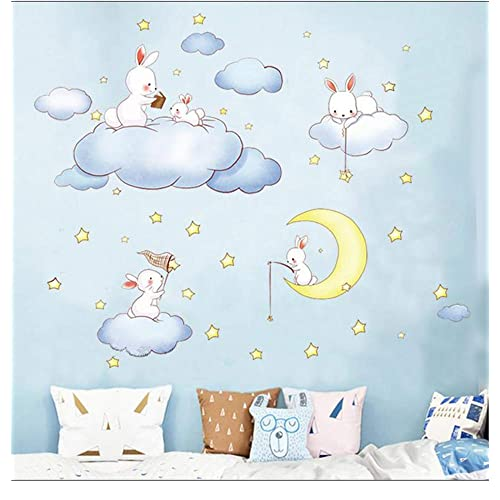 Buy Bunny Wall Stickers Rabbits Wall Decals Set Of 5 Rabbits With Moon Star Cloud Easter Holiday Wall Stickers Decor Bedroom Removable Vinyl Art Mural Decals For Girls Nursery Rabbit Online In