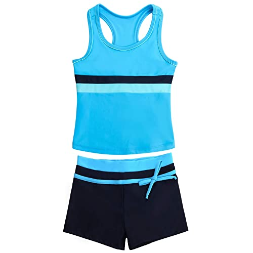 Suyye Girls Swimsuit Two Piece Tankini Swimwear with Boyshort