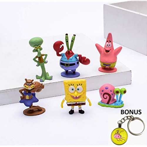 Ideal for Kids Collectible Cake Topper Mini-Figurines 6-Piece Set Spongebob Squarepants Figurines Birthday Party Favors Spongebob Action Toys