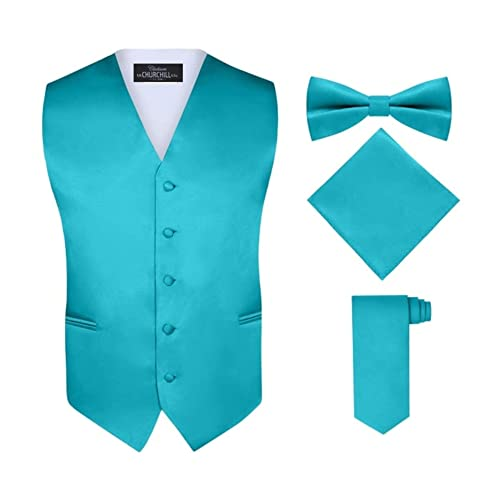 Churchill /& Co Bow Tie and Hanky/- Many Colors Long Tie Boys 6 Piece Vest and Pant Set Includes Shirt S.H