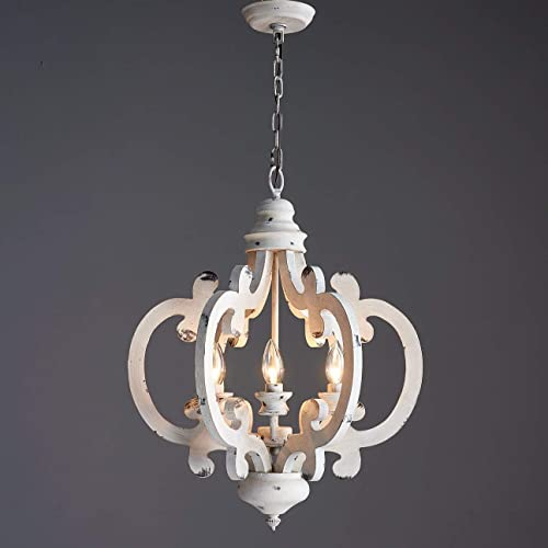 Saint Mossi Six Light Farm House Antique White Wash Finish Chandelier Transitional Rustic Chandelier Lighting Vintage Solid Wood Frame 20 Inch Wide 23 Inch High Buy Products Online With Ubuy Lebanon In Affordable