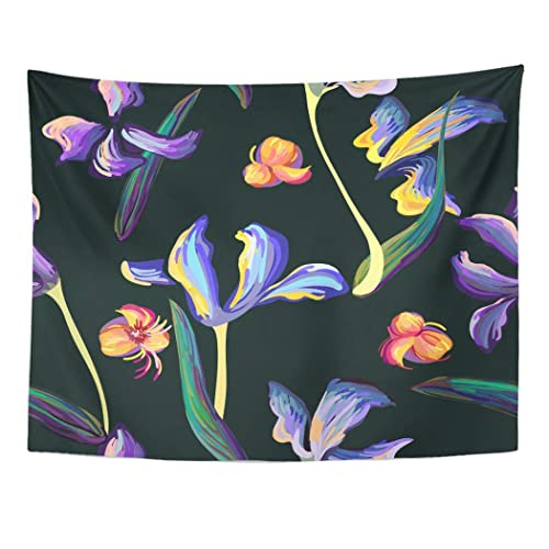 Buy Tarolo Decor Wall Tapestry Blue Ink Pattern Iris Flowers And Leaves Van Gogh Painting Brushed Lines Dots Colorful Artistic 60 X 50 Inches Wall Hanging Picnic For Bedroom Living Room Dorm