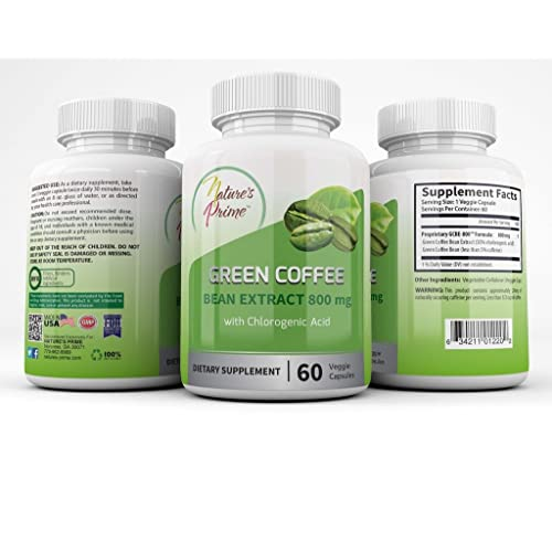 Natures Prime Green Coffee Bean Extract 800 Mg Veggie Capsules