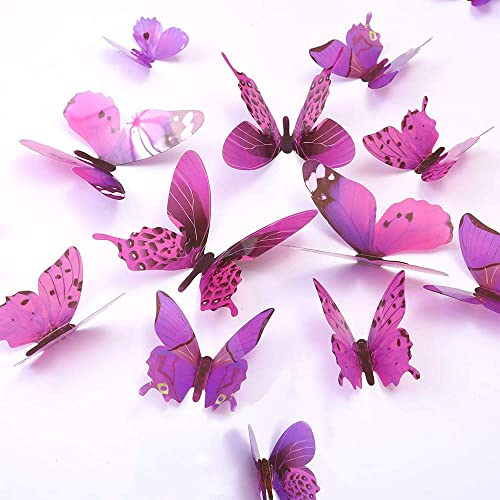 Buy Butterfly Wall Decals 24 Pcs 3d Butterfly Removable Mural Stickers Wall Stickers Decal Wall Decor For Home And Room Decoration Purple Online In Lebanon B07s4kjkpd