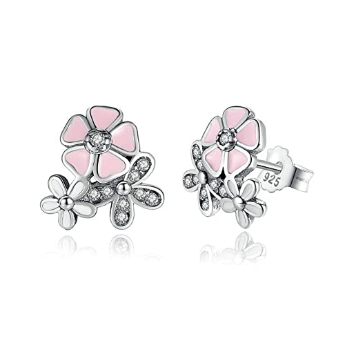 patcharin shop Women 925 Silver Crystal Cherry Blossoms Flower Ear Stud Earrings Jewerly Color Purple