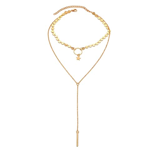 Epinki Gold Plated Double Layers Necklace Star Sequins Chain Necklace for Women and Girls