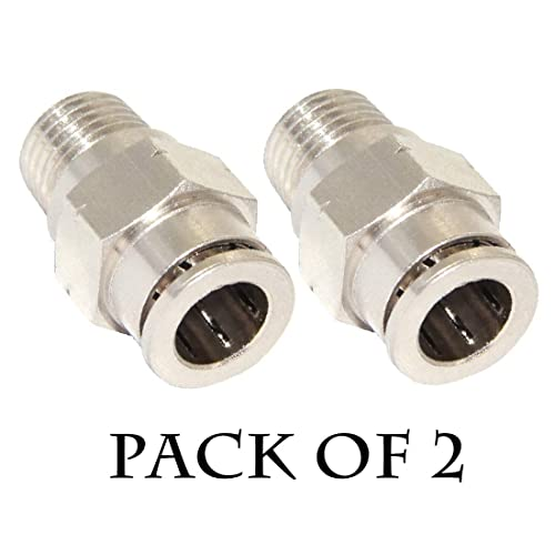 Beduan Pneumatic BPC Nickel-Plated Brass Push to Connect Air Fitting 1//4 Tube OD x 1//8 NPT Male Thread Straight Push Lock Fitting Pack of 5