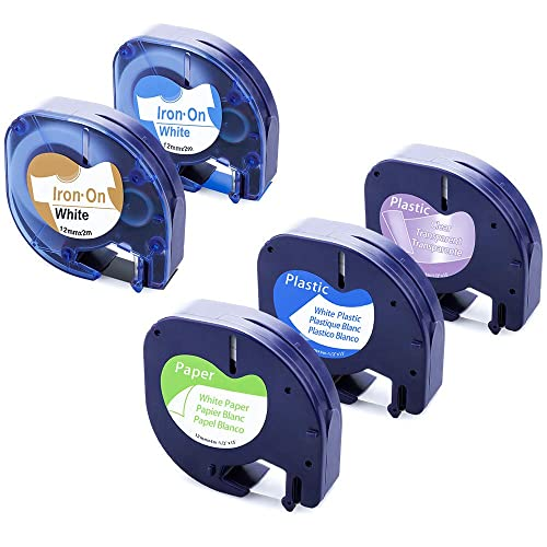 Compatible with Dymo Letra Tag Plastic Paper Tape 91330 16952 91331 12mm LT-100H