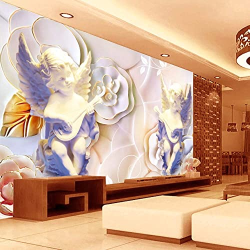 Murals Custom 4d Wallpaper Stereoscopic Embossed Series European Angel Sculpture Flower Wall Decoration Art Print Wall Painting Hd Print For Tv Backdrop Living Room Bedroom Hotel Cafe Home Decor Large Buy Products