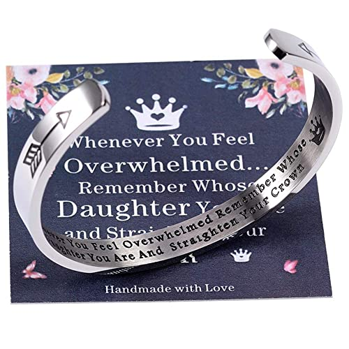 Inspirational Cuff Bracelets Whenever You Feel Overwhelmed Remember Gifts for Daughter Mom Granddaughter Women Girls