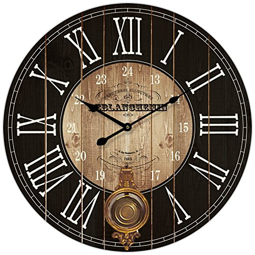 Buy Hdc International Round Brown And Black Paris Decorative Wall Clock With Big Roman Numerals And Distressed Face 23 X 23 Inches Quartz Movement 0116 Online In Lebanon B078nfrd5r