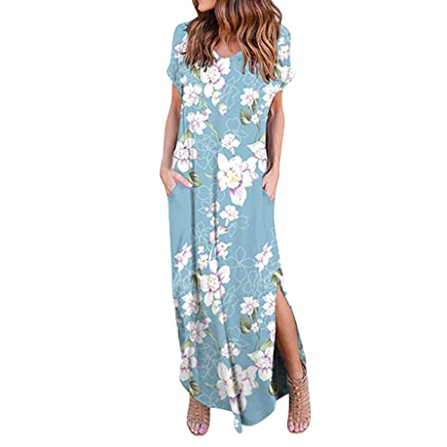 Womens Casual Loose Pocket Long Dress Short Sleeve Split Maxi Dresses Summer Beach Long Dress by Chaofanjiancai