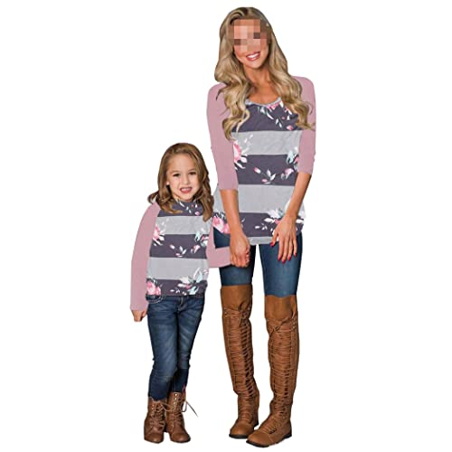 Mommy and Me Floral Print Long Sleeve T Shirt Blouse Tops Mother and Daughter Family Matching Clothes