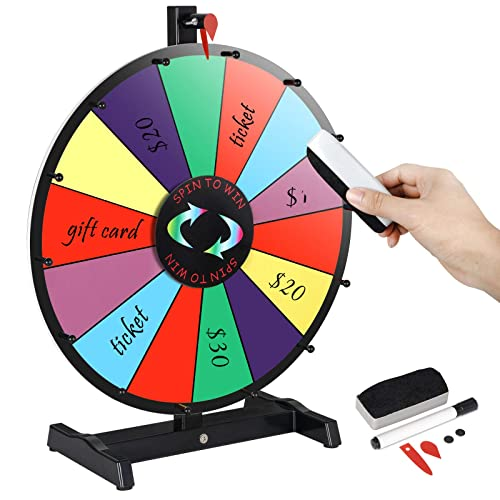 MegaBrand Portable Carnival 18 Tabletop Spinning Prize Wheel 14 Clicker Slots with Color Dry Erase