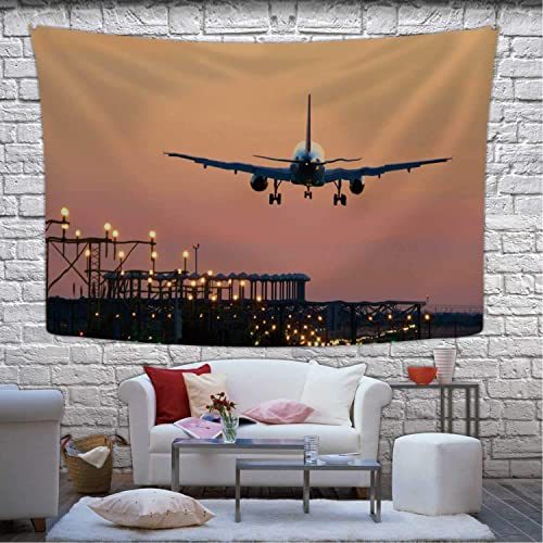 Buy Hitecera Landing Airplane During Sunset Barcelona El Prat Aeroport Tapestry Wall Hanging 044364 Wall Art For Bedroom Decor 90 5w X 59 1h Online In Lebanon B081cfthzl