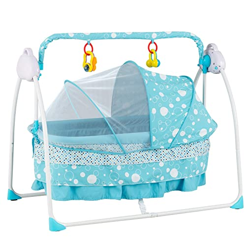 Music Adjustable Speed Rocking Cradle Baby Bassinet-Automatic Baby Basket Electric Rocking Multifunction Baby Swing Cradle Bed,Portable Bassinet Cradle Infant-to-Toddler Rocker with Remote Khaki