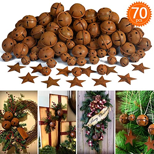 IDOXE Rusty Jingle Bells 1.2 Bulk Metal Star Decorative Cutout Craft Bell for Christmas Winter Holiday Season Decor Rustic Country Craft Supplies 10pcs