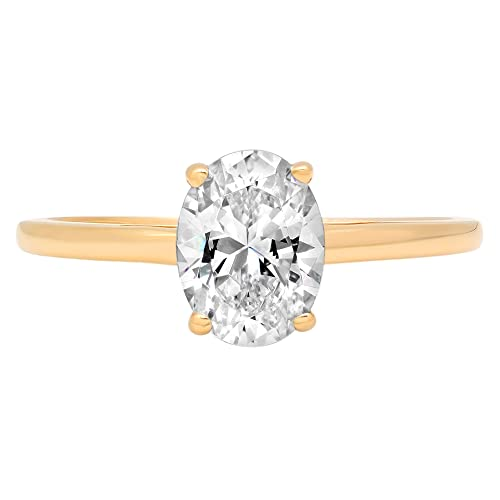 14k Rose Gold 1.97cttw Classic Oval Solitaire Moissanite Engagement Promise Ring Statement Anniversary Bridal Wedding by Clara Pucci