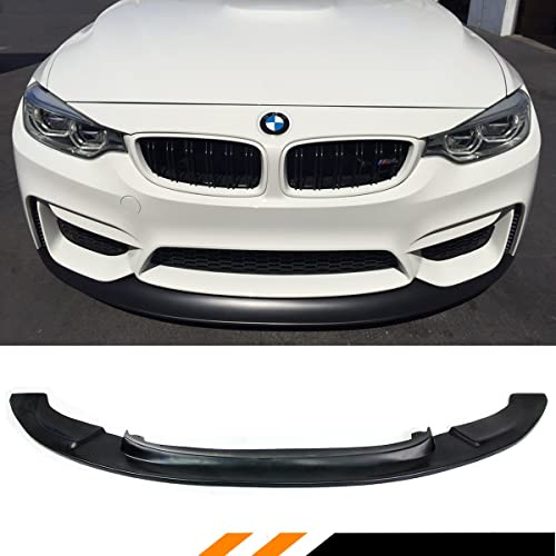 Front Bumper Lip Compatible With 2015-2020 BMW F80 M3 F82 F83 M4 MTC V2 Style Black Poly Urethane PU Front Lip Spoiler Splitter Lower Bodykits By IKON MOTORSPORTS