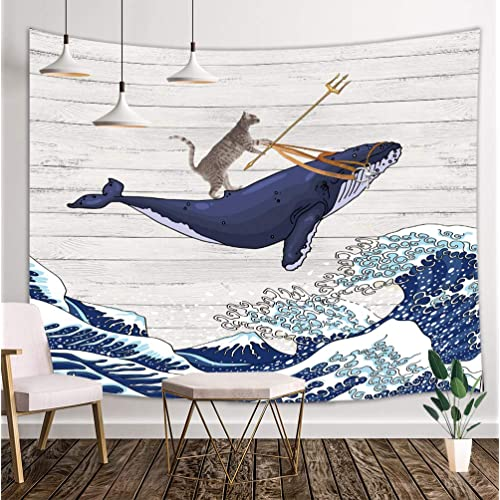 Buy Funny Cat Tapestry Cat Riding Whale In Ocean Wave On Vintage Wooden Wall Tapestry Oriental Vintage Kanagawa Japanese Wave Art Tapestry Tapestry Wall Hanging For Bedroom Living Room Dorm 71x60in Online